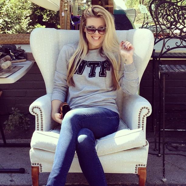 wtf sweatshirt & vintage chair