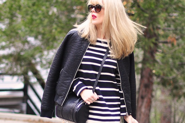 Black and white _ stripes+leather bomber+combat boots+red lips