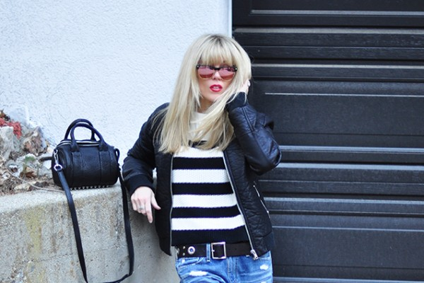 Black and white on black and white _red lips_blonde bangs