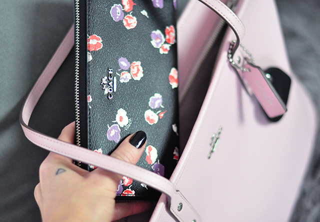 Smile its my january coach bag giveaway more love maegan black floral zip around coach walletpink tote bag mightylinksfo