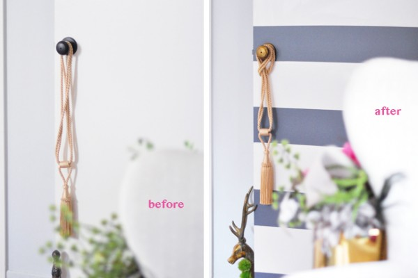 Bold Striped Door DIY- before-after