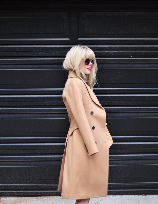 Camel Coat_neutral pumps_red lips _blonde bangs