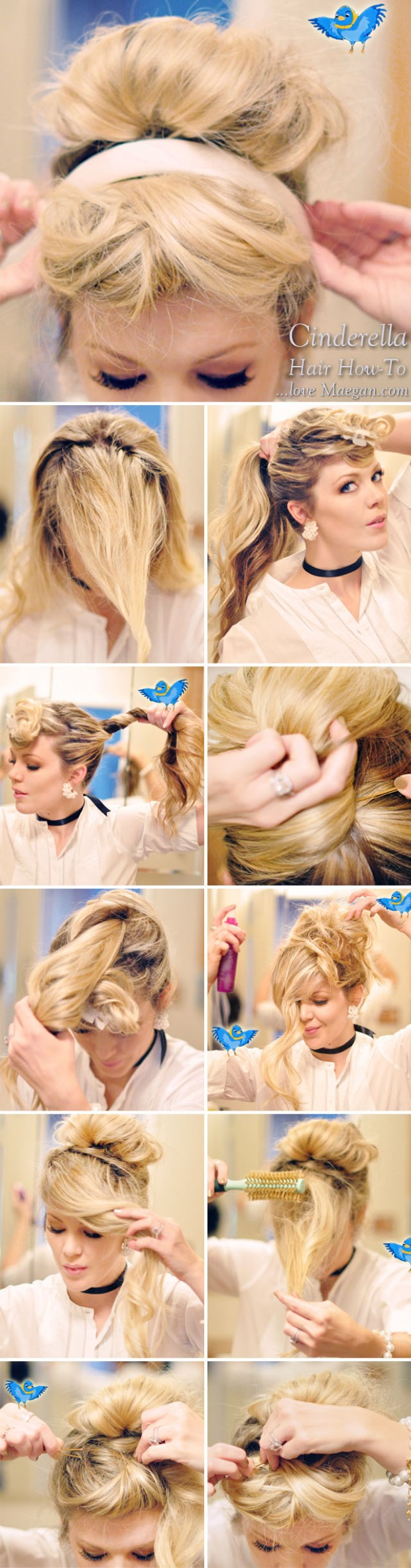For a step-by-step makeup and hair tutorial, click through the link