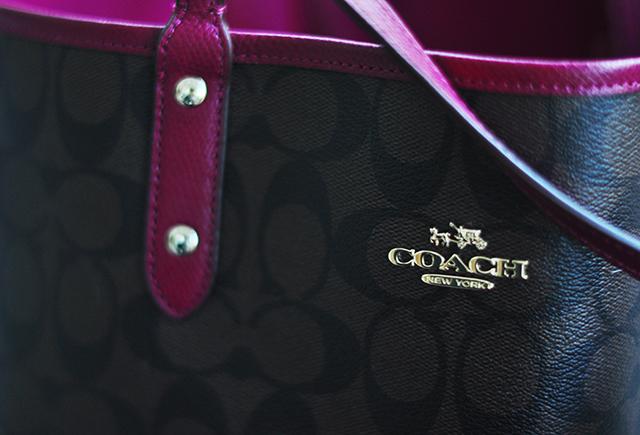 Coach logo reversible tote bag