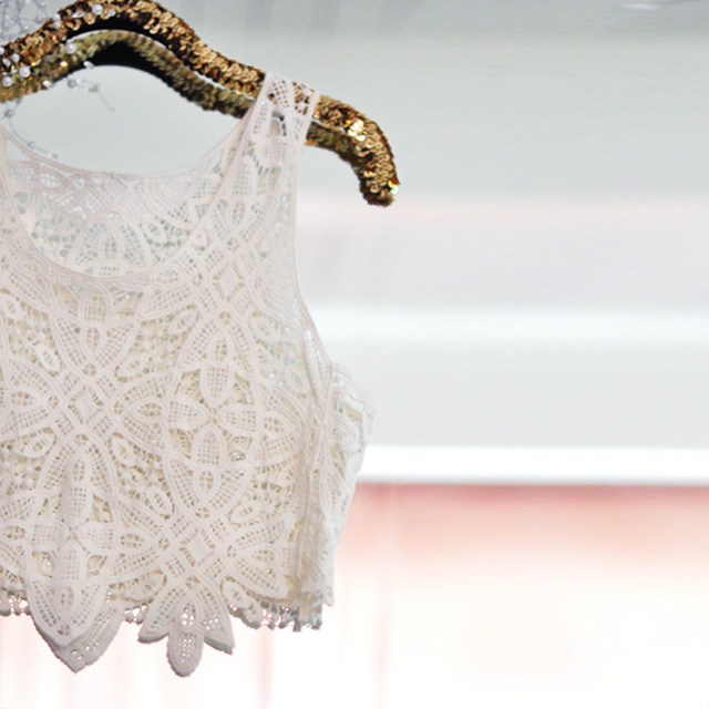 Diy Lace Dress Refashion To Skirt Amp Crop Top Love