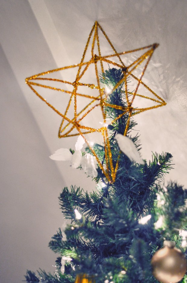 DIY 3d gold christmas tree topper-1