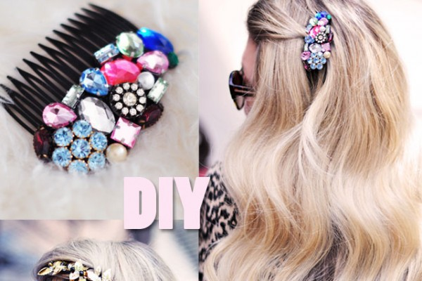 DIY Bejeweled Hair Combs- accessories-hair