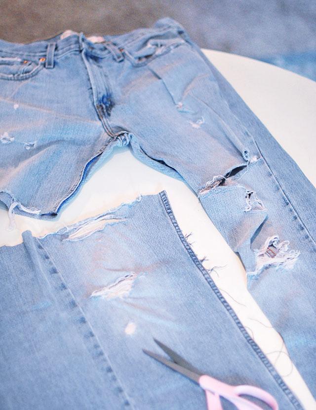 DIY Distressed Denim Culottes_Vintage Levi's-6