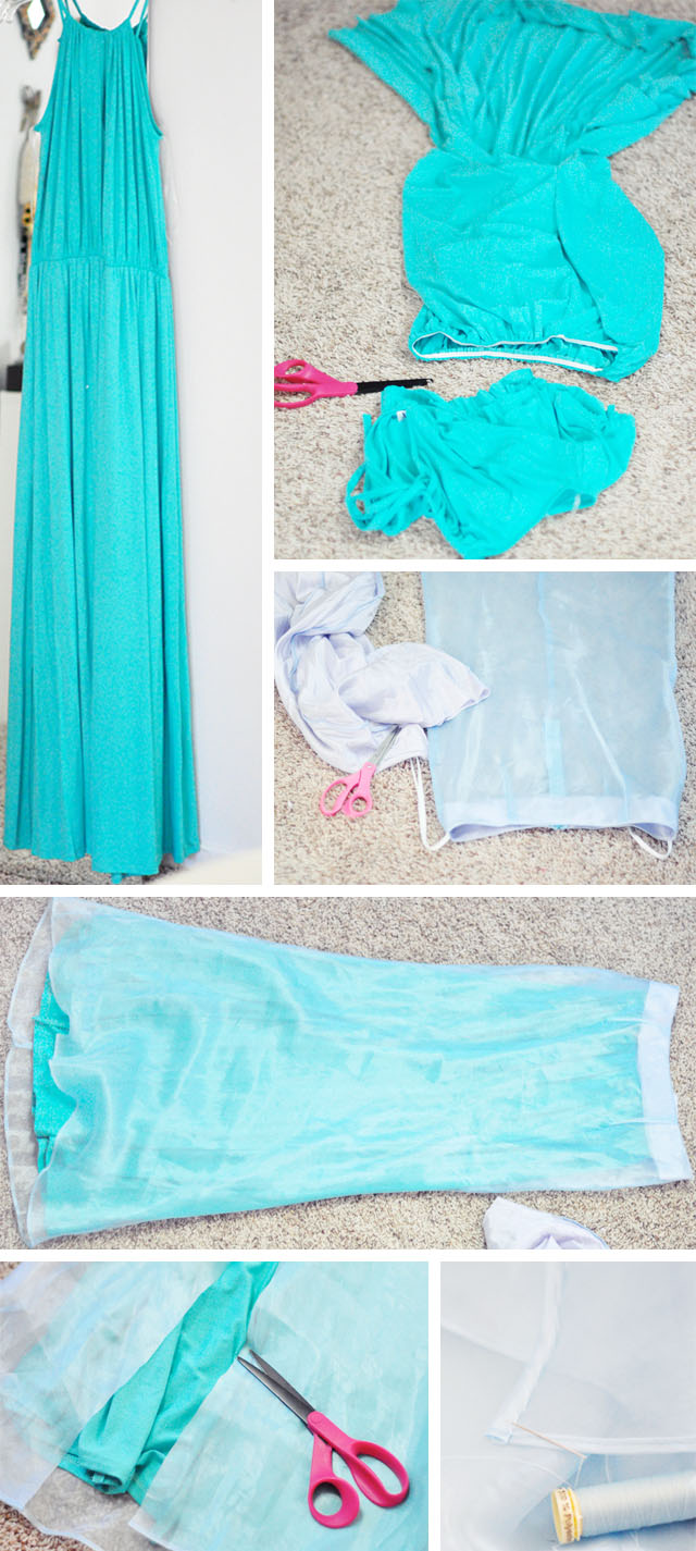 DIY Elsa Snow Queen Dress and Skirt from 2 dressespg