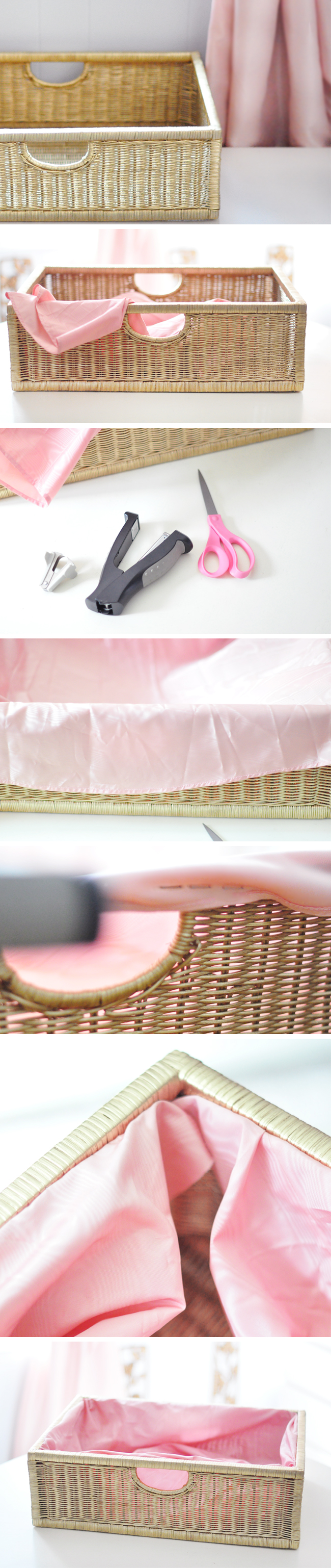 DIY Fabric Lined Basket_Pink and Gold
