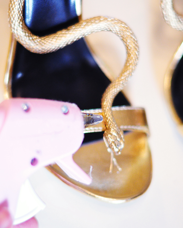 DIY Gold Snake Serpent Shoes-5