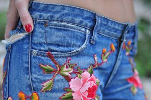 DIY Floral Embroidered Denim Inspired by Gucci Jeans