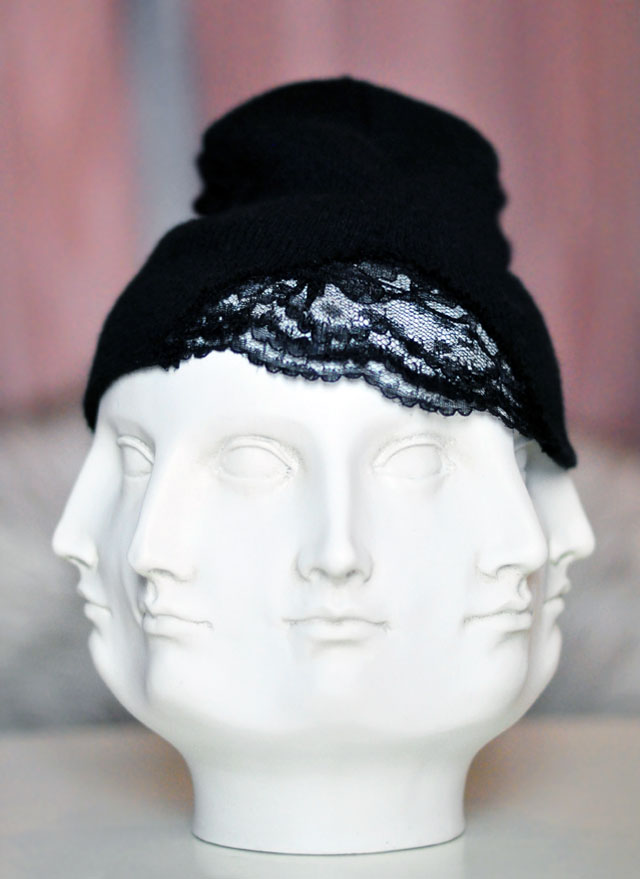 DIY Lace beanie on face vase