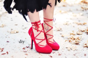DIY Lace Up Heels // Red Pumps w/ Chevron Ric Rac Trim