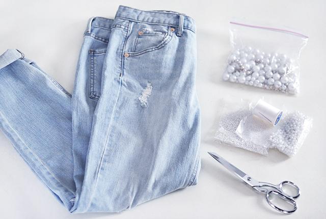 DIY Pearl Embellished skinny boyfriend jeans-1