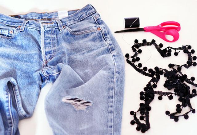 DIY Pom Pom Jeans - Embellished Vintage Levis-1
