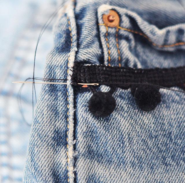 DIY Pom Pom Jeans - Embellished Vintage Levis-4