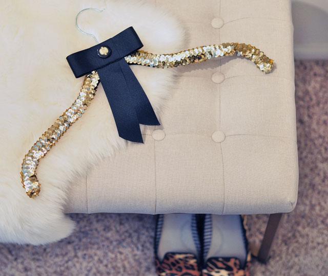 DIY Pretty Sequin Display Hanger + Bow