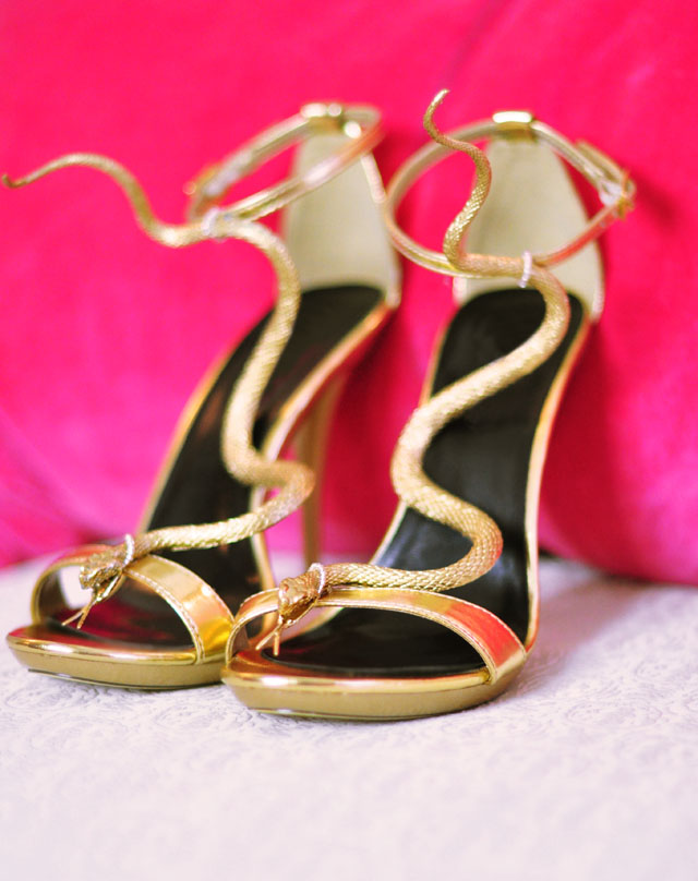 DIY Snake Serpent shoes gold snake sandals
