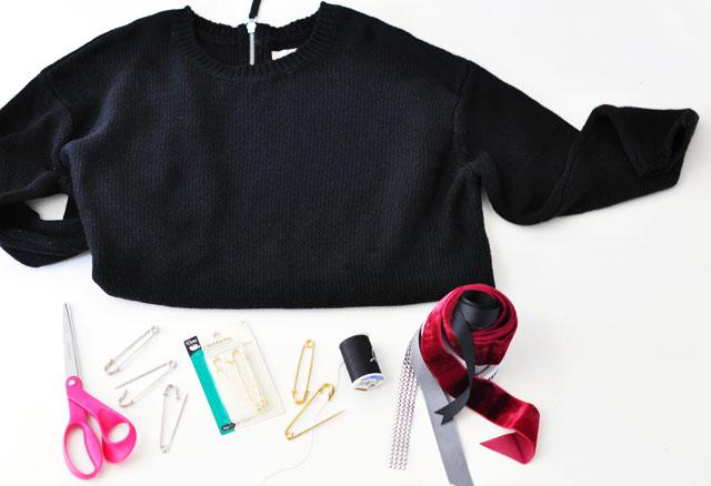 DIY Versace Inspired Big Pin Back Sweater-1