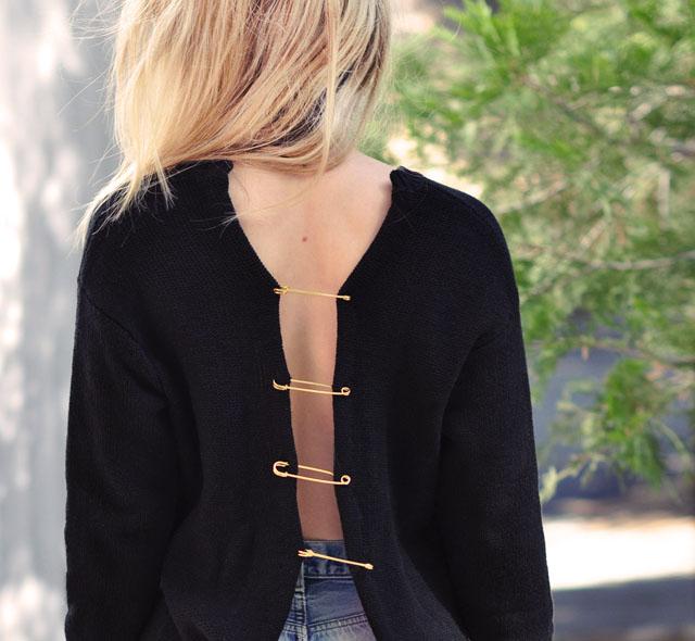 DIY Versace Inspired Big Pin   sweater