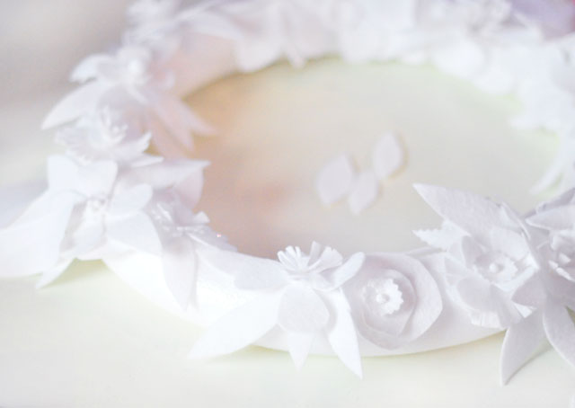 DIY Winter white floral holiday wreath-13