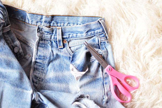 DIY cut-out pockets_bare pockets vintage levis