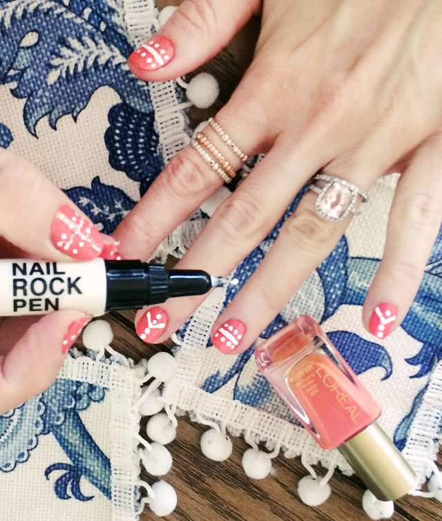 DIY dotted striped nails  with nail rock pen