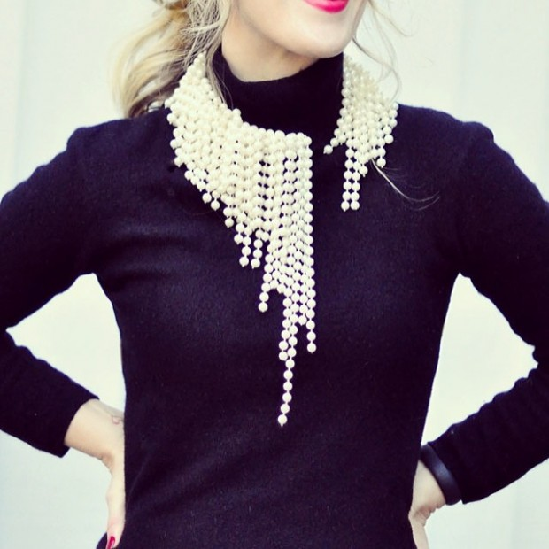 DIY dripping pearl dior necklace