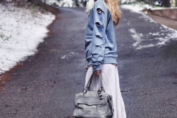 DIY slashed sweatshirt and long tattered maxi skirt in the snow