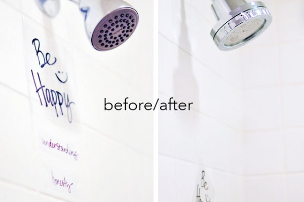 DIY vinyl wall art for your shower+Aroma Sense shower head