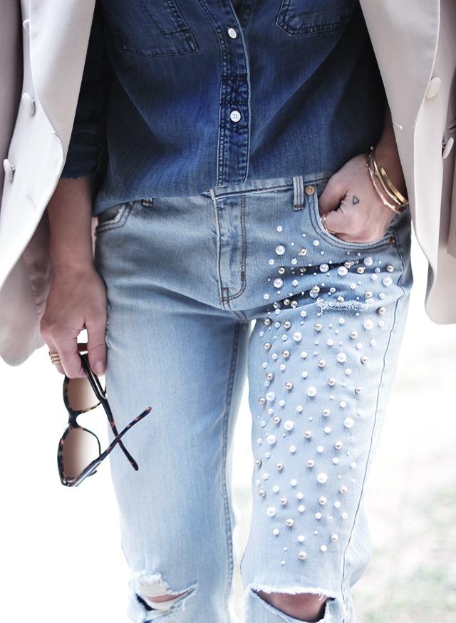 DIY Pearl Embellished Jeans inspired by Paige Denim | ...love Maegan