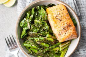 Broiled Salmon Bowls w/ Rainbow Chard & Asparagus