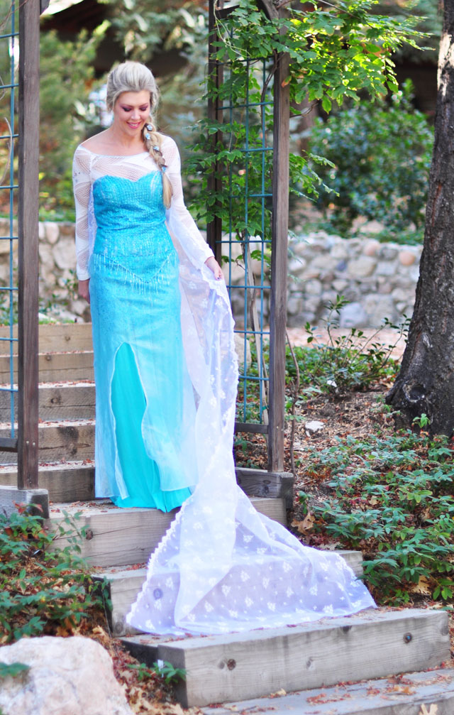 Elsa Snow Queen DIY Costume+Hair+Makeup
