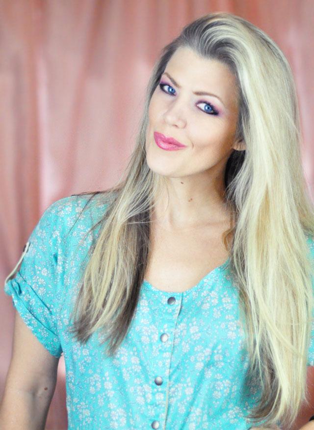 Elsa hair tutorial-long blonde hair before+elsa makeup