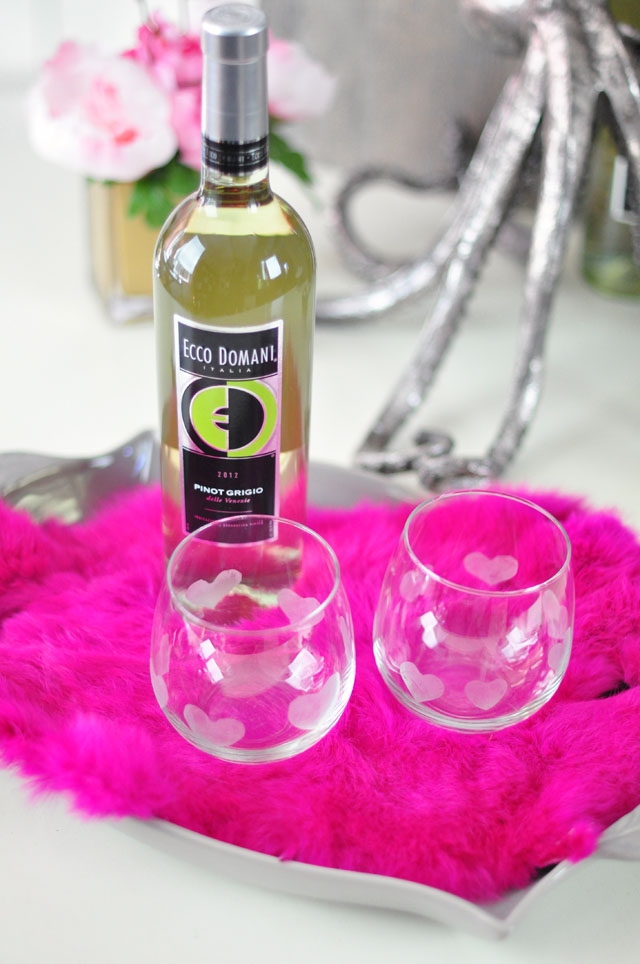 Etched Heart Wine Glasses DIY -Ecco Domani Wine