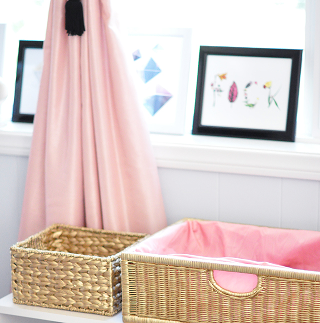 Fabric lined gold basket