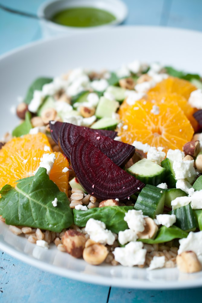 Click through for the full recipe: Farro, Roasted Beet, & Citrus Salad