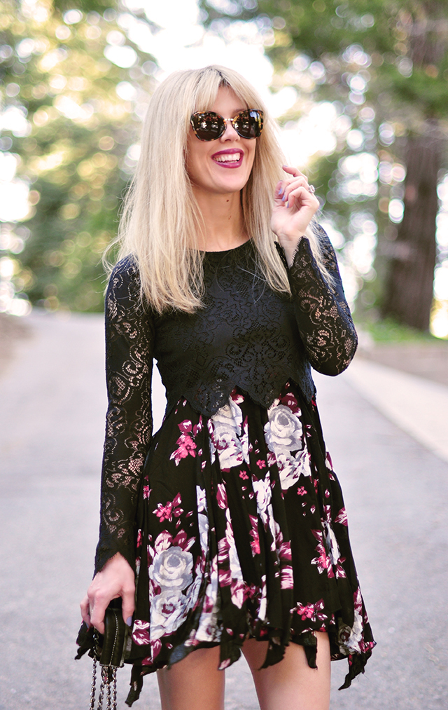 Floral dress with crop top layered over_Phillip Lim sunglasses