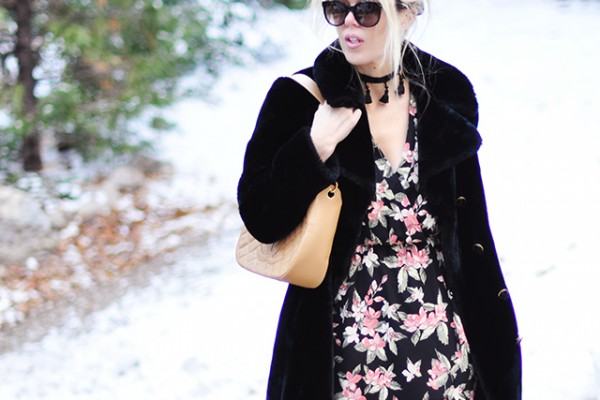 Floral dress_vintage coat_chanel bag_style in the snow