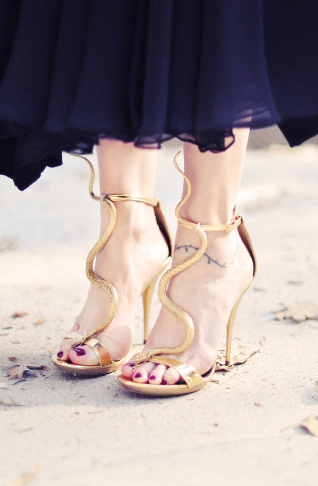 Gold Snake Sandals heels- DIY 3