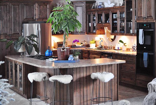 brown lake house kitchen