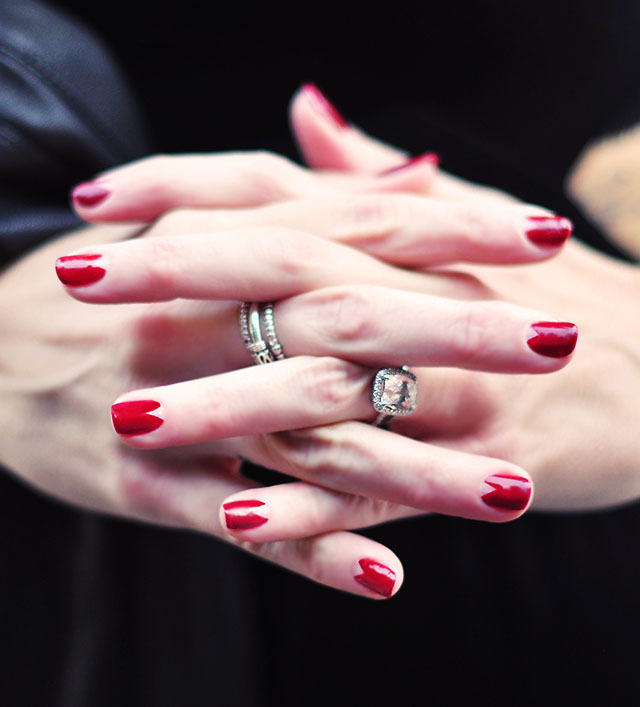 Oxblood Flesh Triangle Reveal Nail Art for Halloween | ...love Maegan