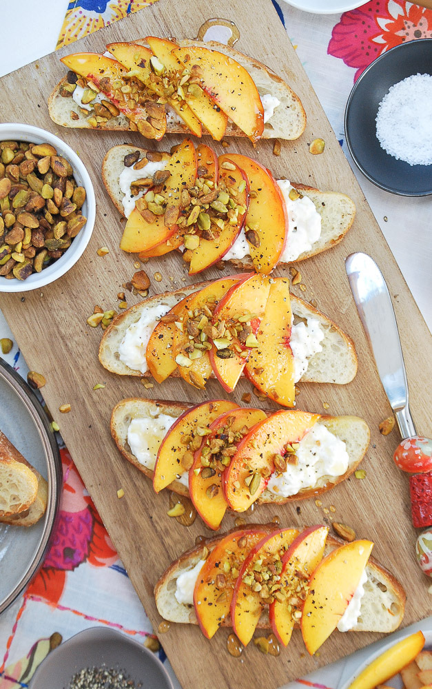 Peach-Burrata-Crostini
