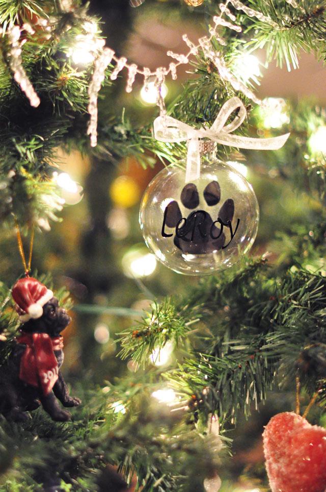 Pet Paw Print glass ornament