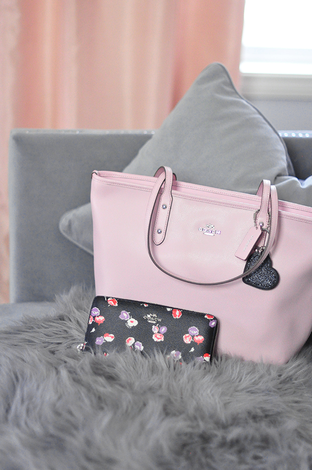 Smile its my january coach bag giveaway more love maegan pink coach tote bagblack floral walletheart keychain mightylinksfo