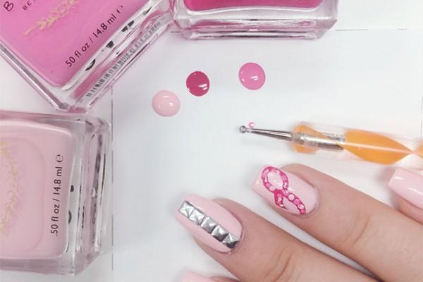 Pink breast cancer awareness nails_Lauren B Beauty-3
