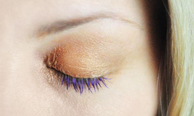 Purple Mascara + Gold Shimmer eye shadow