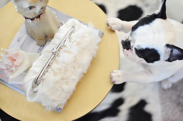 Ruffled romantic ivory wedding clutch bag -7