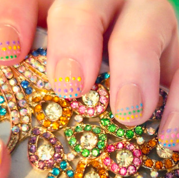 rainbow dotted nails